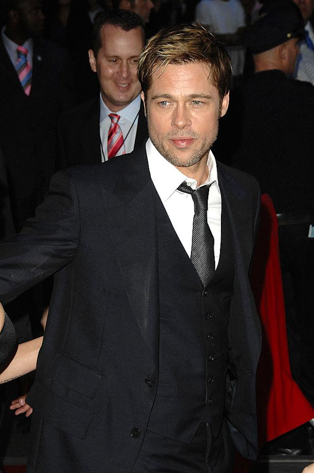 """Brad Pitt's five o'clock shadow accentuates his chiseled chin and cheekbones. Evan Agostini/<a href=""""http://www.gettyimages.com/"""" target=""""new"""">GettyImages.com</a> - September 18, 2007"""