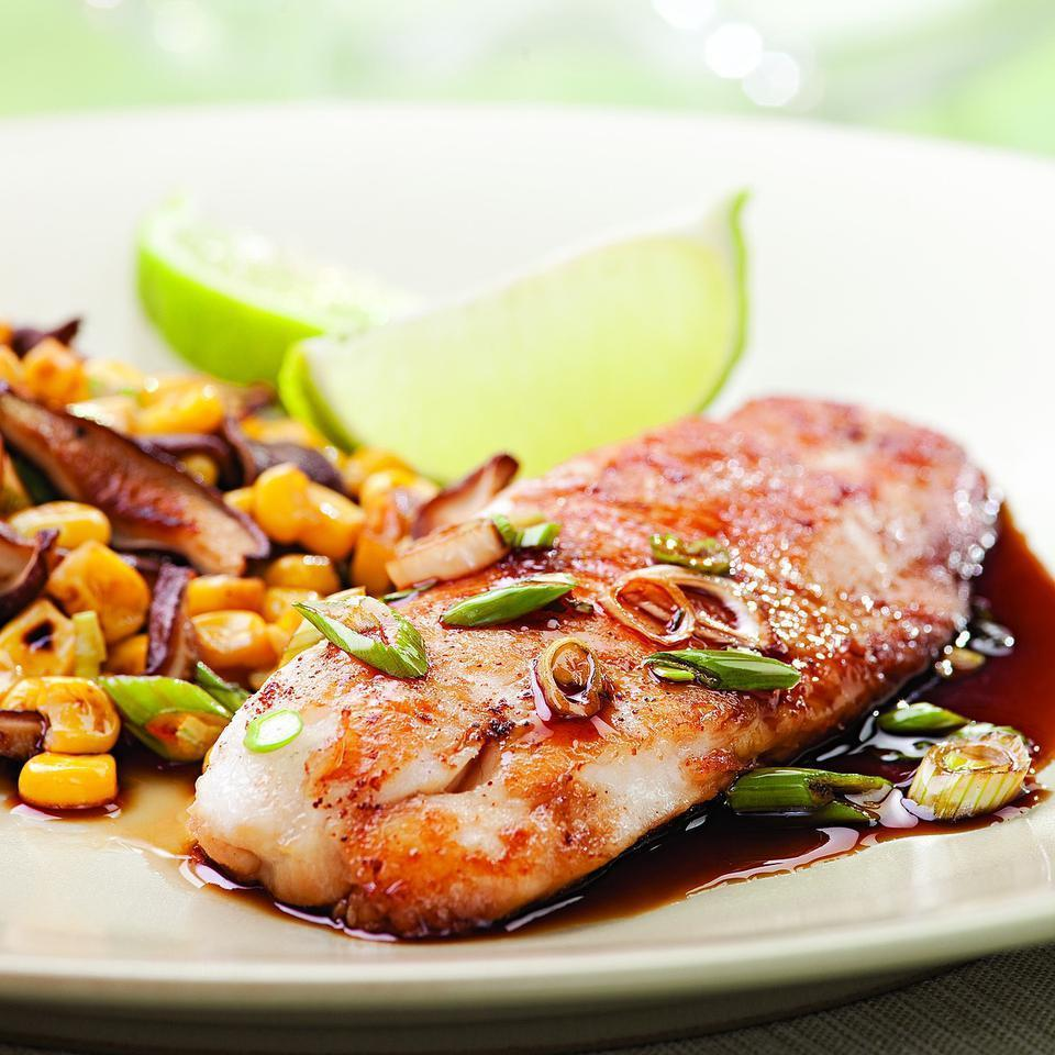 <p>Chinese five-spice powder, soy sauce and brown sugar make a quick glaze for tilapia. You'll need a skillet that is 12 inches or larger to accommodate the pound of tilapia fillets--if you don't have one large enough, use 2 smaller skillets instead or cook them in two separate batches, using more oil as necessary.</p>