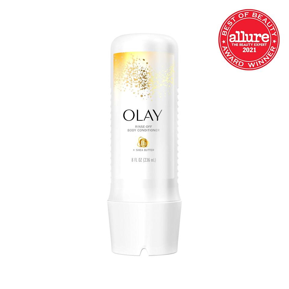 <strong>Olay Rinse-Off Body Conditioner + Shea Butter</strong> cocoons skin in shea butter while you're still in the shower, stopping dryness and tightness before they start.