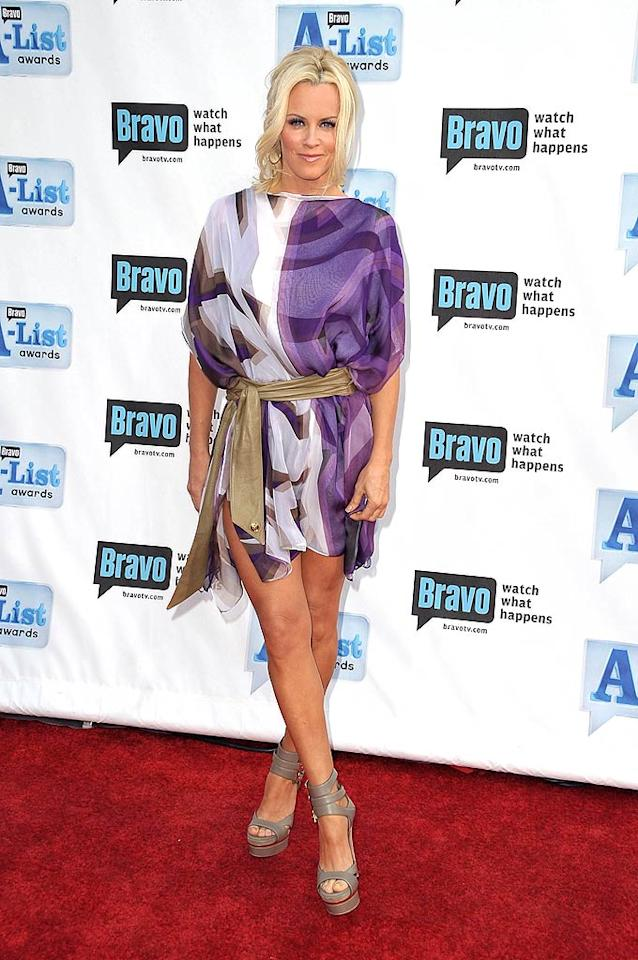 "Jenny McCarthy accentuated her fabulous gams in a purple print frock and strappy platform sandals. Jordan Strauss/<a href=""http://www.wireimage.com"" target=""new"">WireImage.com</a> - April 5, 2009"