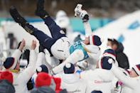 <p>Veronika Vitkova of the Czech Republic celebrates with team members after the victory ceremony for the Women's Biathlon 7.5km Sprint on day one of the PyeongChang 2018 Winter Olympic Games at Alpensia Biathlon Centre on February 10, 2018 in Pyeongchang-gun, South Korea. (Photo by Andreas Rentz/Getty Images,) </p>