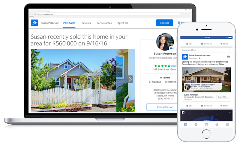 Zillow running on a laptop and smartphone.