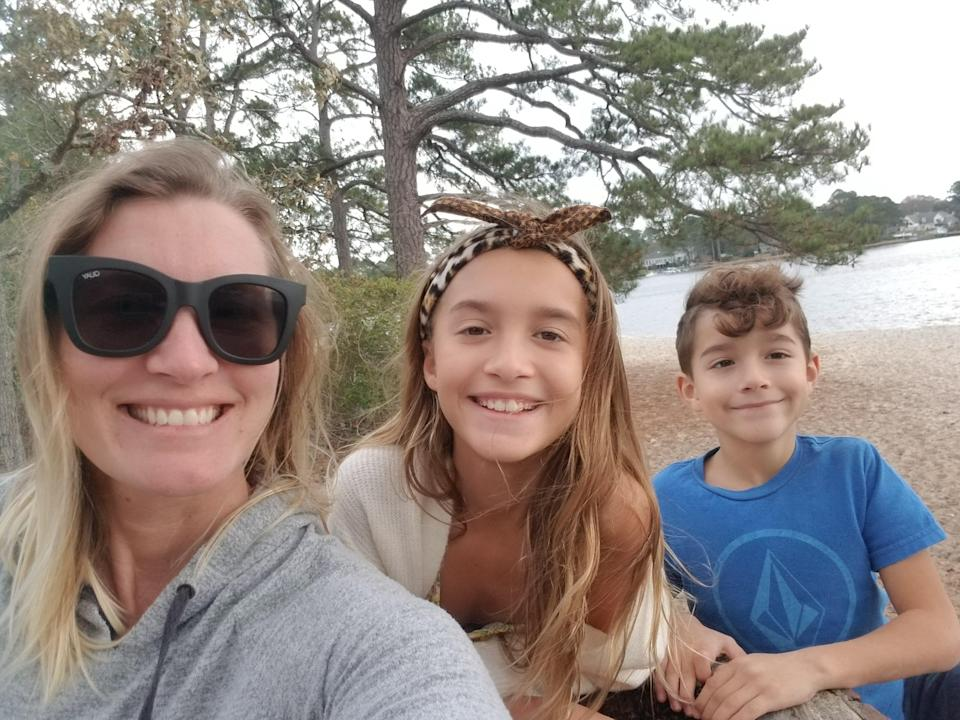 Nicole Lawrence with her daughter, Katharine, 11, and son, Connor, 8