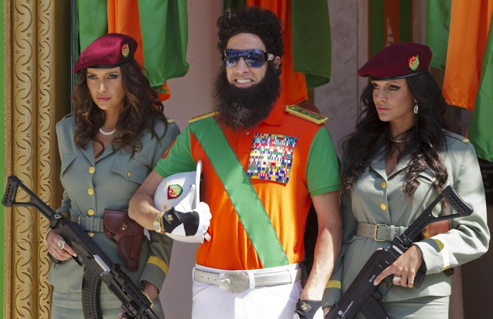 Sacha Baron Cohen poses during a photo call for The Dictator at the 65th international film festival, in Cannes, 2012. (AP Photo/Joel Ryan)
