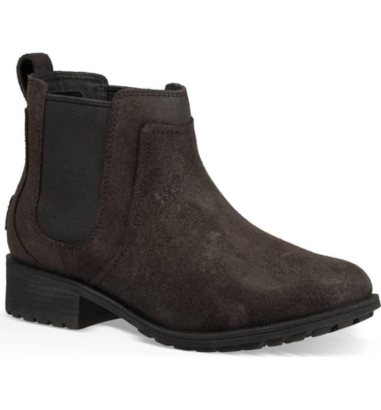 """<p>You can't go wrong with the classic, but nobody would ever know these <a href=""""https://www.popsugar.com/buy/UGG-Bonham-II-Waterproof-Chelsea-Booties-398576?p_name=UGG%20Bonham%20II%20Waterproof%20Chelsea%20Booties&retailer=shop.nordstrom.com&pid=398576&price=150&evar1=fab%3Aus&evar9=45589750&evar98=https%3A%2F%2Fwww.popsugar.com%2Ffashion%2Fphoto-gallery%2F45589750%2Fimage%2F45589823%2FUGG-Bonham-II-Waterproof-Chelsea-Booties&list1=shopping%2Cgifts%2Cshoes%2Cboots%2Cwinter%2Cgift%20guide%2Cwinter%20fashion%2Cgifts%20for%20women&prop13=mobile&pdata=1"""" rel=""""nofollow"""" data-shoppable-link=""""1"""" target=""""_blank"""" class=""""ga-track"""" data-ga-category=""""Related"""" data-ga-label=""""https://shop.nordstrom.com/s/ugg-bonham-ii-waterproof-chelsea-bootie-women/5025433?origin=keywordsearch-personalizedsort&amp;breadcrumb=Home%2FAll%20Results%2FWomen%27s%20Shoes&amp;color=black"""" data-ga-action=""""In-Line Links"""">UGG Bonham II Waterproof Chelsea Booties</a> ($150) are filled with the brand's signature shearling.</p>"""