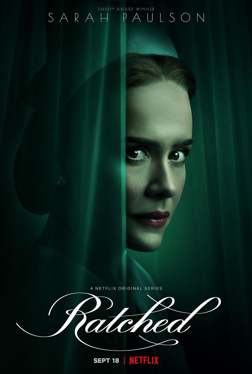 """<p><strong>Air date: </strong>2020-present on Netflix</p><p>Murphy featured player Sarah Paulson got an incredible showcase in the origin story for legendary <em>One Flew Over the Cuckoo's Nest </em>villain Nurse Ratched, which is set at an eerie Northern California psychiatric hospital in the late 1940s. Performances by Paulson and <a href=""""https://www.oprahdaily.com/entertainment/tv-movies/a34058967/cynthia-nixon-ratched-interview/"""" rel=""""nofollow noopener"""" target=""""_blank"""" data-ylk=""""slk:Cynthia Nixon"""" class=""""link rapid-noclick-resp"""">Cynthia Nixon</a> have been justly praised, and a second season of the unnerving drama is <a href=""""https://www.oprahdaily.com/entertainment/a34045518/ratched-season-2-release-date-cast-news/"""" rel=""""nofollow noopener"""" target=""""_blank"""" data-ylk=""""slk:in the works"""" class=""""link rapid-noclick-resp"""">in the works</a>.</p><p>Murphy did not write on <em>Ratched</em>, though he directed a pair of episodes. He is credited with having developed the show alongside Evan Romansky.<br><br></p><p><a class=""""link rapid-noclick-resp"""" href=""""https://www.netflix.com/title/80213445"""" rel=""""nofollow noopener"""" target=""""_blank"""" data-ylk=""""slk:WATCH NOW"""">WATCH NOW</a></p>"""
