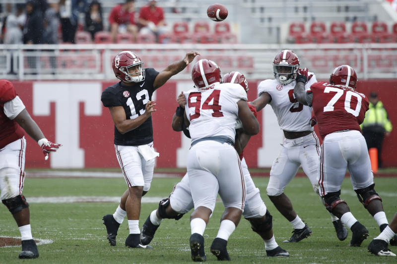 Tua Tagovailoa #13 of the Alabama Crimson Tide throws a pass during the team's A-Day Spring Game at Bryant-Denny Stadium on April 13, 2019. (Getty)
