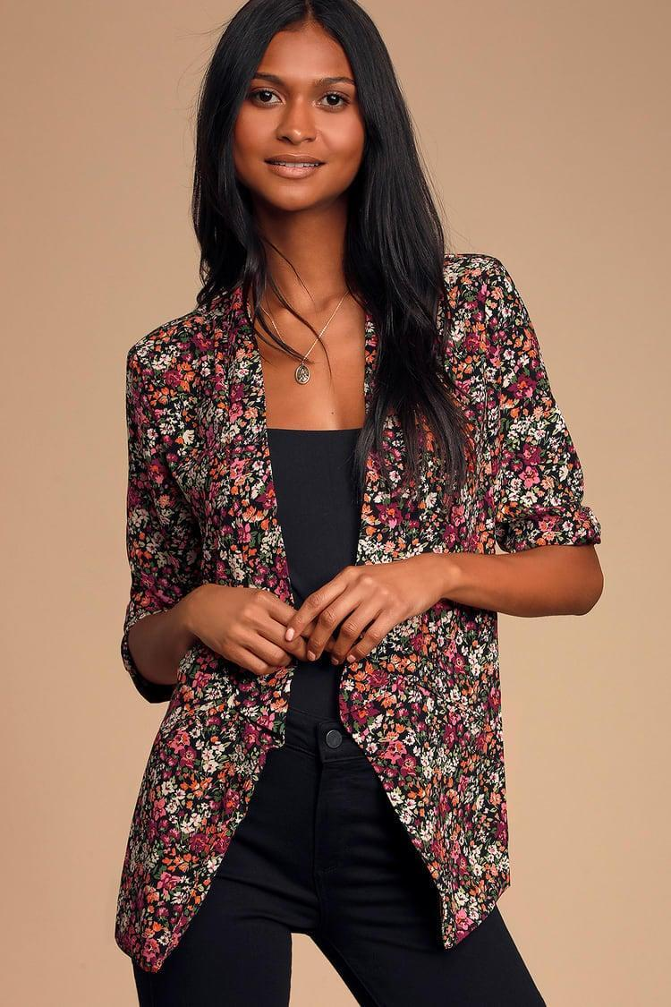 <p><span>Lulus Miss Punctuality Pink and Black Floral Print Lightweight Blazer</span> ($57)</p>