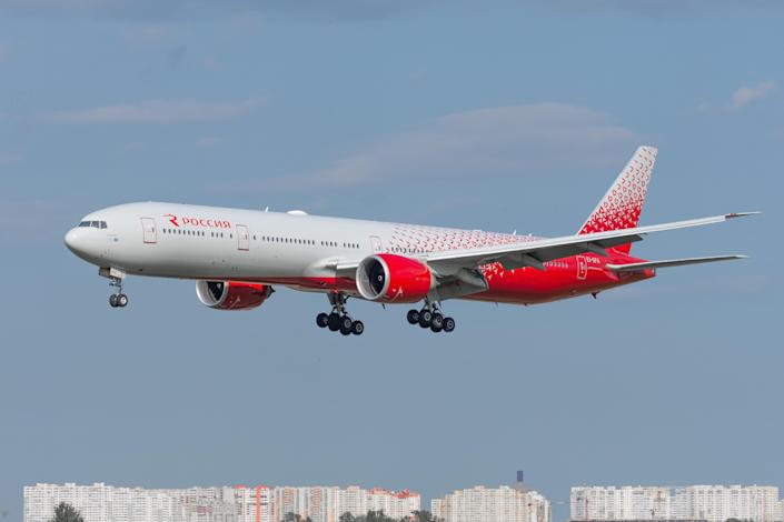 A file photo of a Boeing 777-300, operated by Rossiya Airlines, approaching Pulkovo Airport in Saint-Petersburg in 2019 (Getty Images)