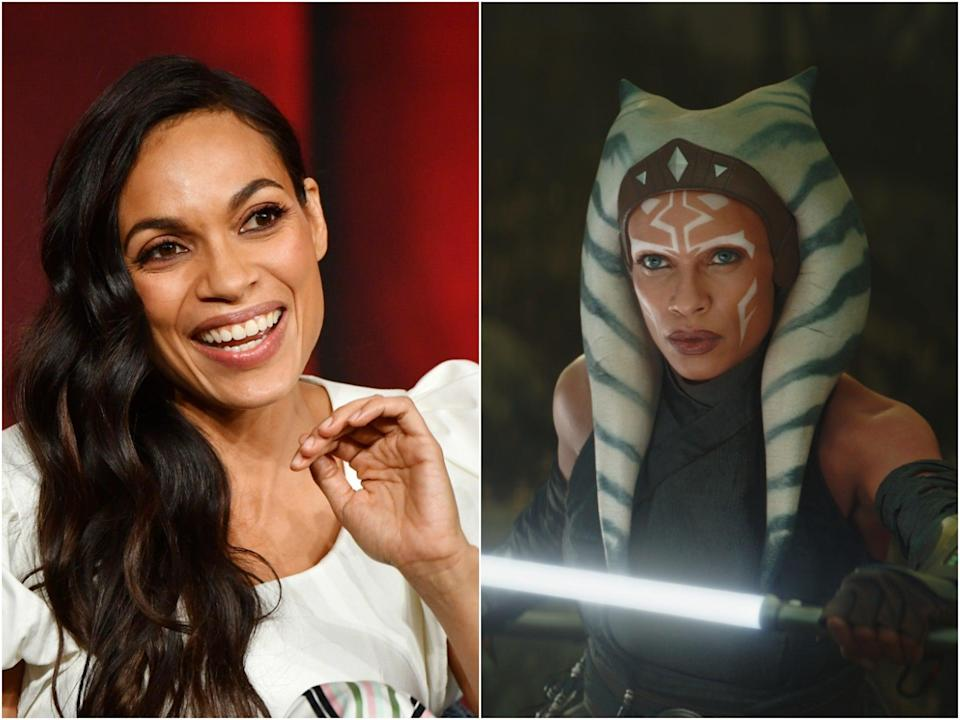 Rosario Dawson photographed in 2020 (left), and as seen in The Mandalorian (right) (Getty/Lucasfilm)