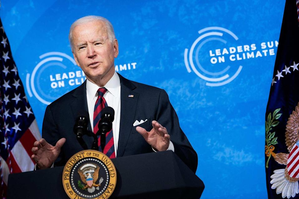 US President Joe Biden speaks during climate change virtual summit from the East Room of the White House on Thursday in Washington. Photo: AFP