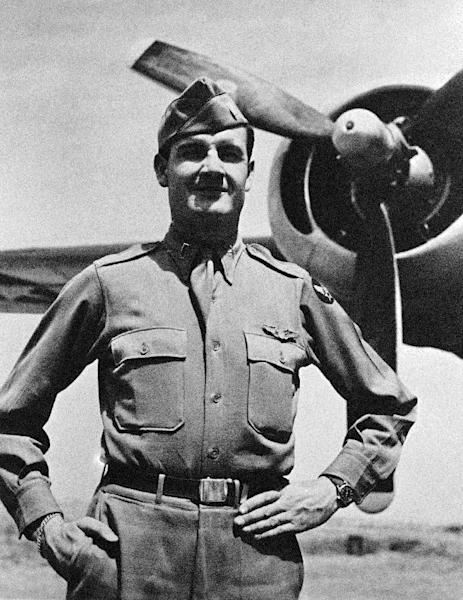 FILE - This 1944 file photo provided by the McGovern family shows George McGovern when he received the Distinguished Flying Cross. A family spokesman says, McGovern, the Democrat who lost to President Richard Nixon in 1972 in a historic landslide, has died at the age of 90. According to a spokesman, McGovern died Sunday, Oct. 21, 2012 at a hospice in Sioux Falls, surrounded by family and friends. (AP Photo/McGovern Family, File)