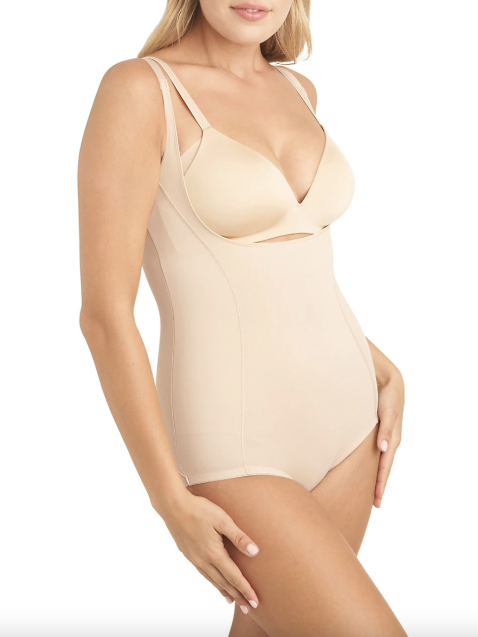 nude miraclesuit bodysuit for underneath wedding dresses on a blonde model