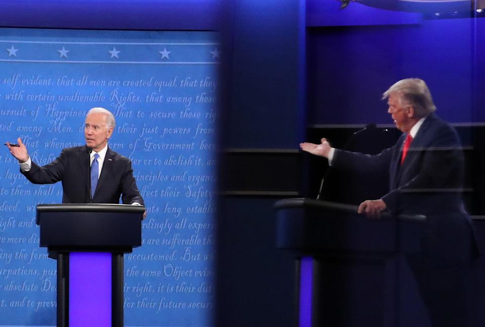 From left, former vice president Joe Biden and President Donald Trump traded blows about each other's finances at the 2020 presidential debate. (Getty Images)