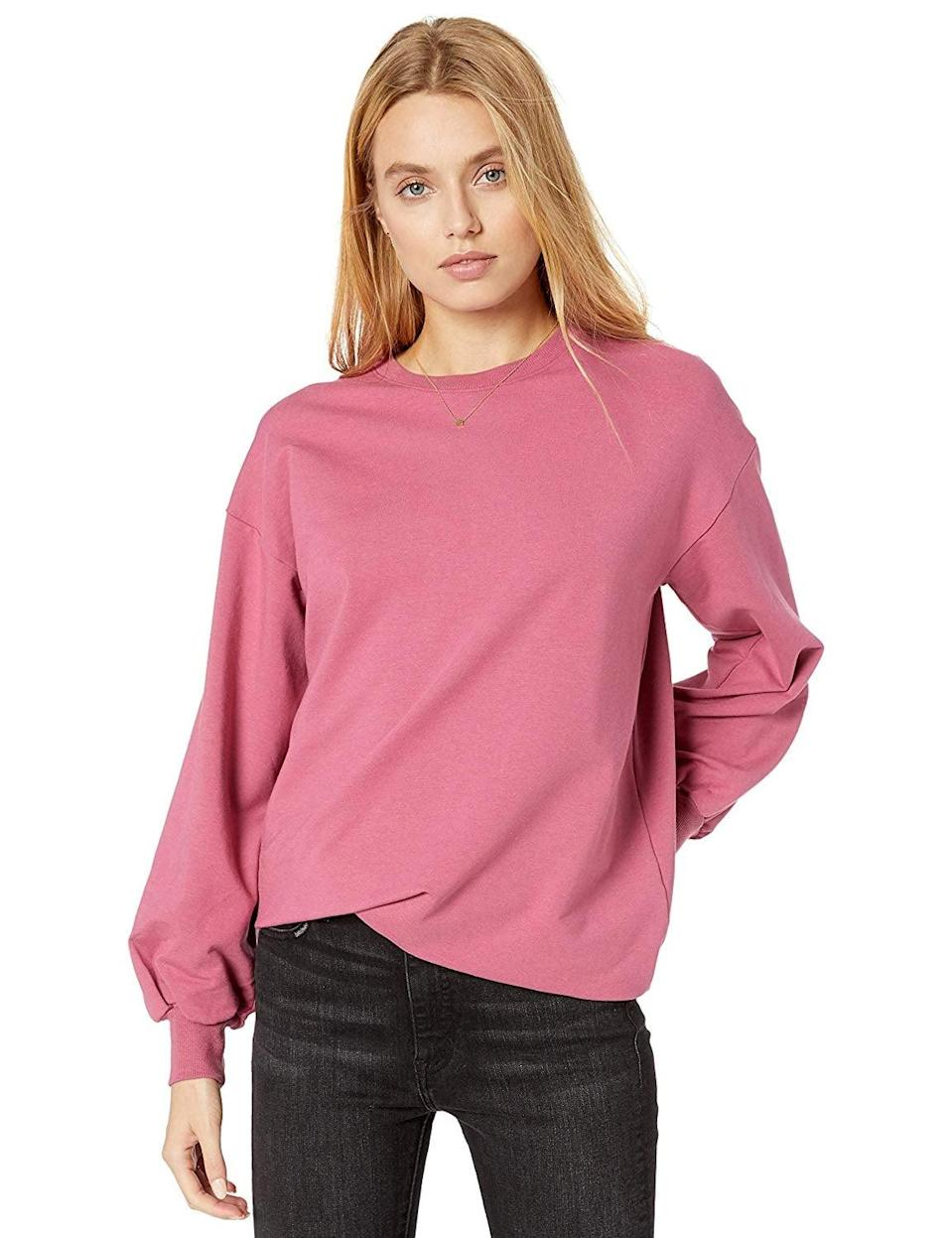 """<p>Get this newly released <a href=""""https://www.popsugar.com/buy/Drop-Kiko-Oversized-Crew-Neck-Sweatshirt-540004?p_name=The%20Drop%20Kiko%20Oversized%20Crew%20Neck%20Sweatshirt&retailer=amazon.com&pid=540004&price=40&evar1=fab%3Aus&evar9=47107205&evar98=https%3A%2F%2Fwww.popsugar.com%2Ffashion%2Fphoto-gallery%2F47107205%2Fimage%2F47107806%2FDrop-Kiko-Oversized-Crew-Neck-Sweatshirt&list1=shopping%2Camazon%2Cwinter%20fashion%2C50%20under%20%2450%2Caffordable%20shopping&prop13=mobile&pdata=1"""" class=""""link rapid-noclick-resp"""" rel=""""nofollow noopener"""" target=""""_blank"""" data-ylk=""""slk:The Drop Kiko Oversized Crew Neck Sweatshirt"""">The Drop Kiko Oversized Crew Neck Sweatshirt</a> ($40) before it sells out.</p>"""