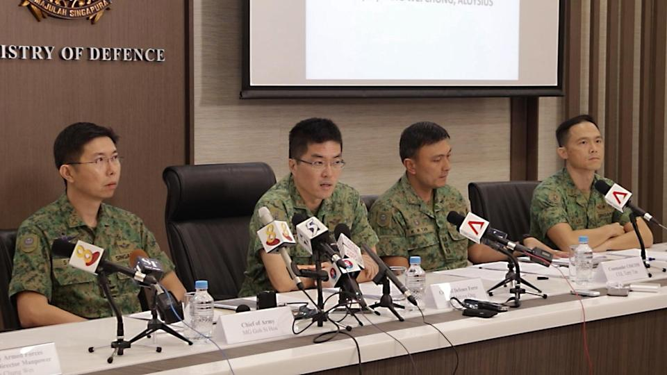(From left to right): Chief of Army Major-General Goh Si Hou, Chief of Defence Force Lieutenant-General Melvyn Ong, Commander of Combat Service Support Command Colonel Terry Tan and Chief Army Medical Officer Colonel Edward Lo. PHOTO: Dhany Osman/Yahoo News Singapore
