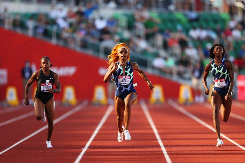 Sha'Carri Richardson competes in the Women's 100 Meter semifinals on day 2 of the 2020 U.S. Olympic Track & Field Team Trials