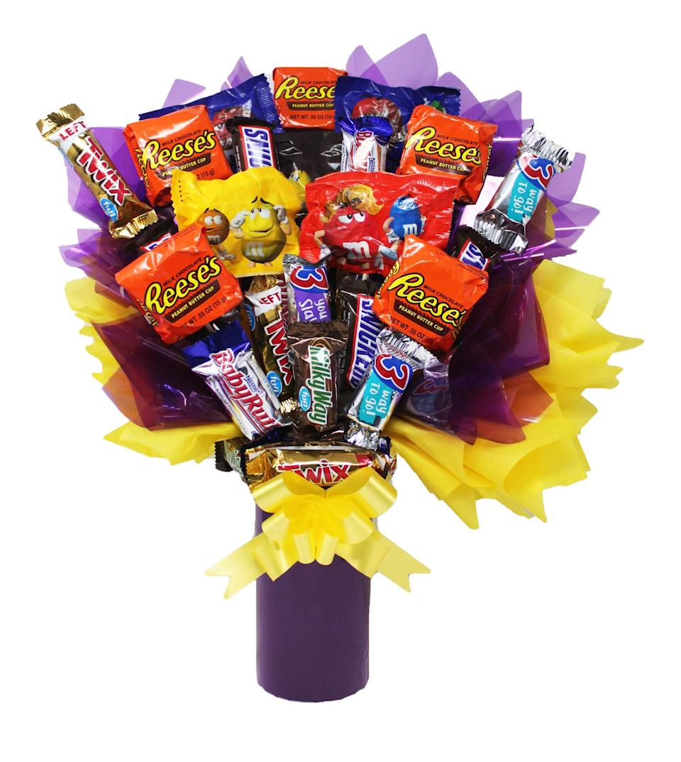 """<strong><h3>Fun-Sized Candy Bouquet</h3></strong><br>BRB — we need some alone time with our couch, Netflix, and this stacked fun-sized candy bouquet.<br><br><strong>Online 24/7</strong> Fun-Sized Candy Bouquet, $, available at <a href=""""https://amzn.to/2H04vXs"""" rel=""""nofollow noopener"""" target=""""_blank"""" data-ylk=""""slk:Amazon"""" class=""""link rapid-noclick-resp"""">Amazon</a>"""