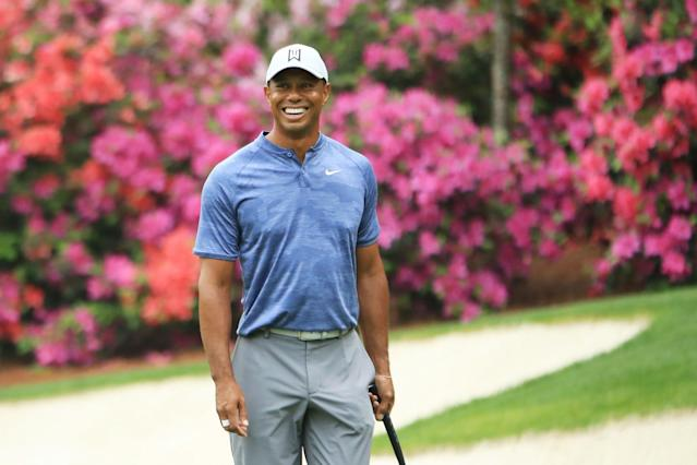 Tiger Woods looks on during a practice round prior to The Masters at Augusta National Golf Club on April 8, 2019 in Augusta, Georgia. (Getty Images)