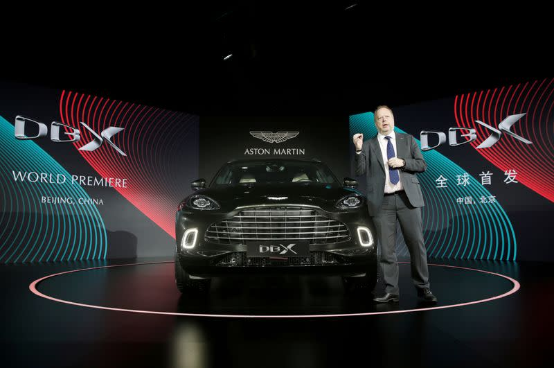 CEO of Aston Martin Andy Palmer attends a global launch ceremony of its first sport utility vehicle Aston Martin DBX in Beijing