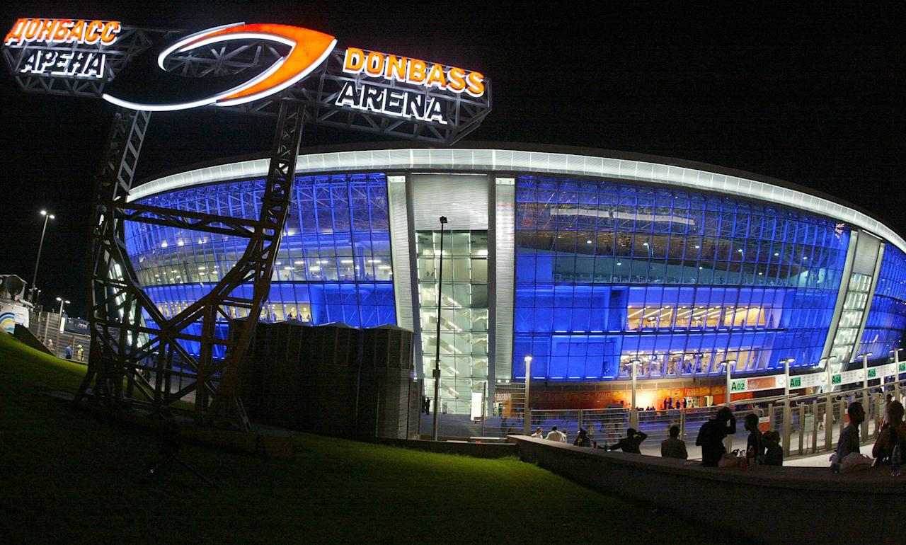 General view of the new Donbass Arena stadium in Donetsk on August 29, 2009. Newly built Donbass Arena stadium for 50 thousands persons will host matches of the Euro 2012 football tournament in Donetsk. AFP PHOTO/ALEXANDER KHUDOTEPLY (Photo credit should read Alexander KHUDOTEPLY/AFP/Getty Images)