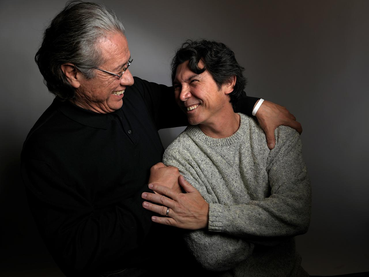 "Edward James Olmos, left, and Lou Diamond Phillips, from the film ""Filly  Brown,"" pose for a portrait during the 2012 Sundance Film Festival on  Sunday, Jan. 22, 2012, in Park City, Utah."