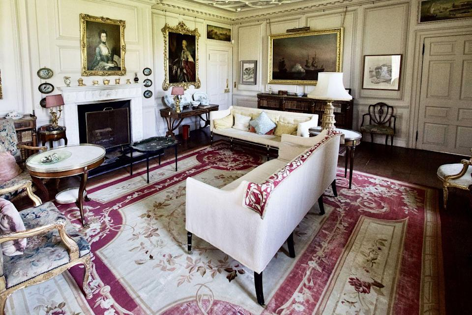 """<p>""""The Drawing Room contains a very fine suite of Regency furniture, along with an important portrait of the 4th Earl by Sir Joshua Reynolds. I'm particularly fond of the Aubusson carpet which we've just had restored on an enormous loom.""""</p>"""