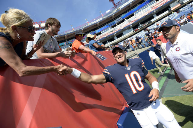 Bears quarterback Mitch Trubisky was impressive in the preseason. (AP)