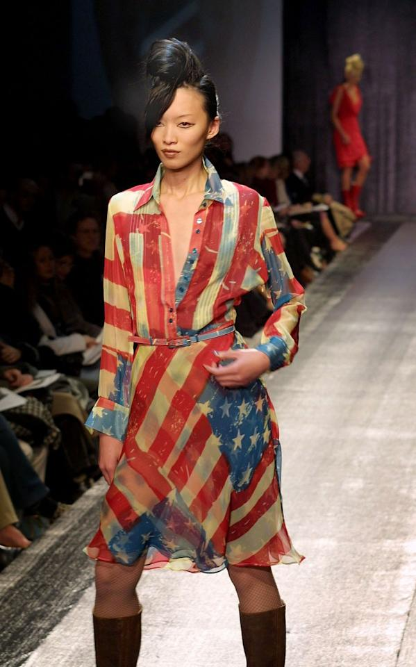 <p>First appearing on the Catherine Malandrino runway, Meryl Streep later wore this patriotic dress to promote her film <em>Doubt</em> in 2009.</p>