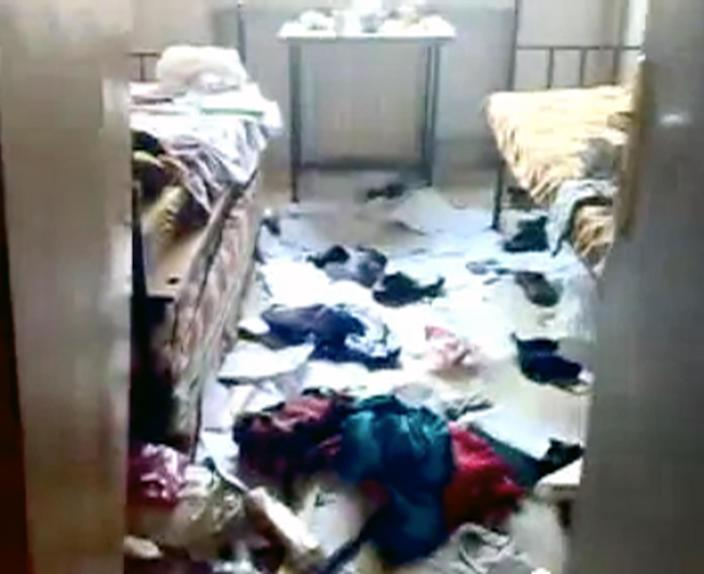 This image made from amateur video released by Shaam News Network and accessed Thursday, May 3, 2012 purports to show damage to a dormitory at Aleppo University in Aleppo, Syria. Syrian security forces stormed dormitories at Aleppo University to break up anti-government protests, killing at least four students and wounding several others in an hourslong rampage that ended Thursday morning and left part of the campus in flames, activists and opposition groups said. (AP Photo/Shaam News Network via AP video) TV OUT, THE ASSOCIATED PRESS CANNOT INDEPENDENTLY VERIFY THE CONTENT, DATE, LOCATION OR AUTHENTICITY OF THIS MATERIAL