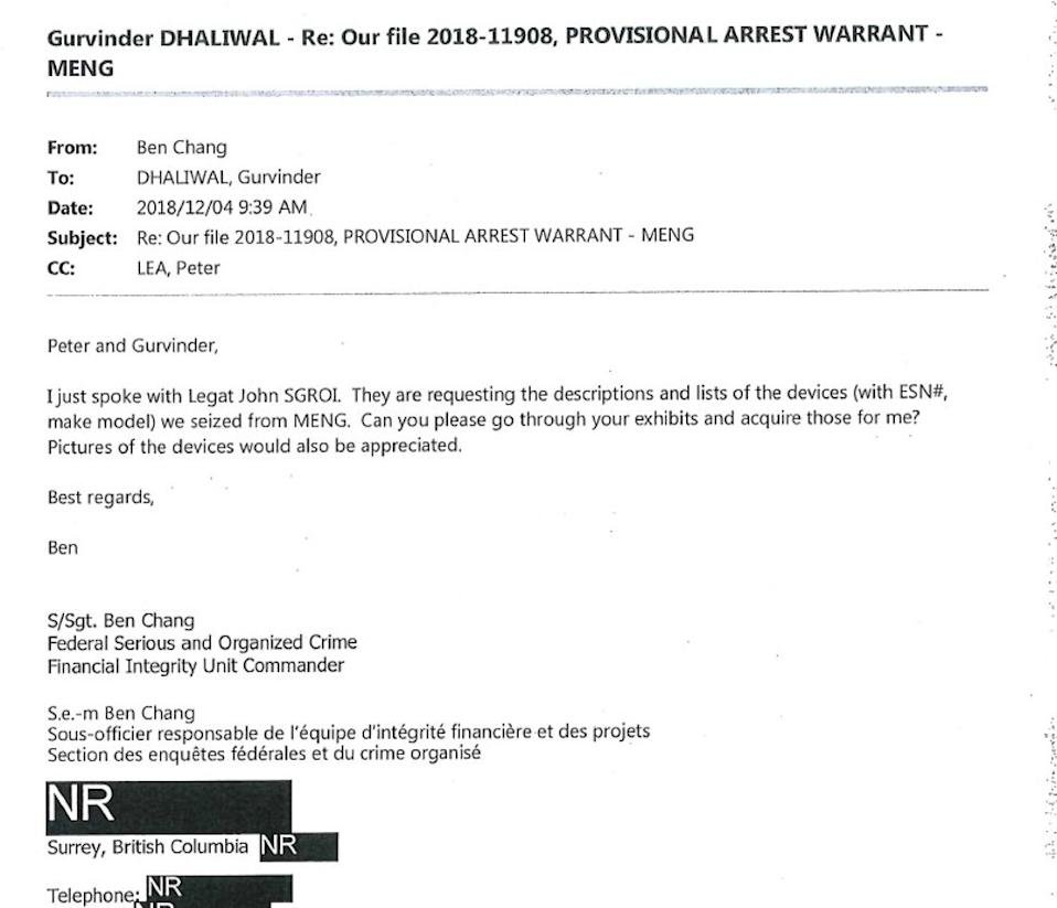 An email by Royal Canadian Mounted Police Staff Sergeant Ben Chang, dated December 4, 2018, describes an FBI request for information about Meng Wanzhou's seized electronic devices. Photo: BC Supreme Court