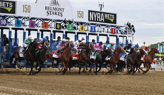 FILE - In this June 9, 2018, file photo, horses break from the starting gate at the beginning of the 150th running of the Belmont Stakes horse race at Belmont Park in Elmont, N.Y. The Belmont Stakes will be run June 20, 2020, without fans and serve as the opening leg of horse racing's Triple Crown for the first time in the sport's history. The New York Racing Association on Tuesday, May 19, 2020, unveiled the rescheduled date for the Belmont, which will also be contested at a shorter distance than usual. This is the first time the Belmont will lead off the Triple Crown ahead of the Kentucky Derby and Preakness. (AP Photo/Julie Jacobson, File)