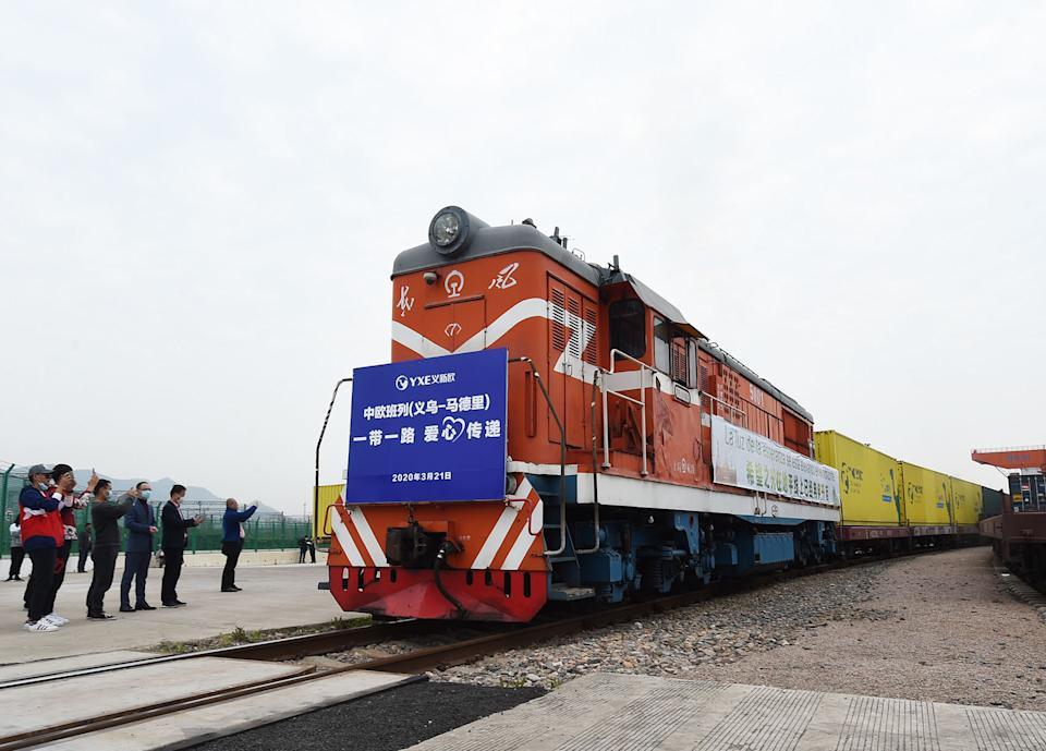 BEIJING, June 8, 2020 -- A China-Europe freight train bound for Madrid of Spain, which carries two containers of medical supplies as well as other goods, departs the city of Yiwu, east China's Zhejiang Province, March 21, 2020. Initiated in 2011, the China-Europe rail transport service is considered a significant part of the Belt and Road Initiative to boost trade between China and countries participating in the program.   Amid the coronavirus pandemic, the service remained a reliable transportation channel as air, sea and road transportation have been severely affected.  The freight trains have also been playing a crucial role in helping with the fight against the pandemic in Europe, sending massive quantities of medical supplies such as face masks and goggles. (Photo by Gong Xianming/Xinhua via Getty) (Xinhua/Gong Xianming via Getty Images)