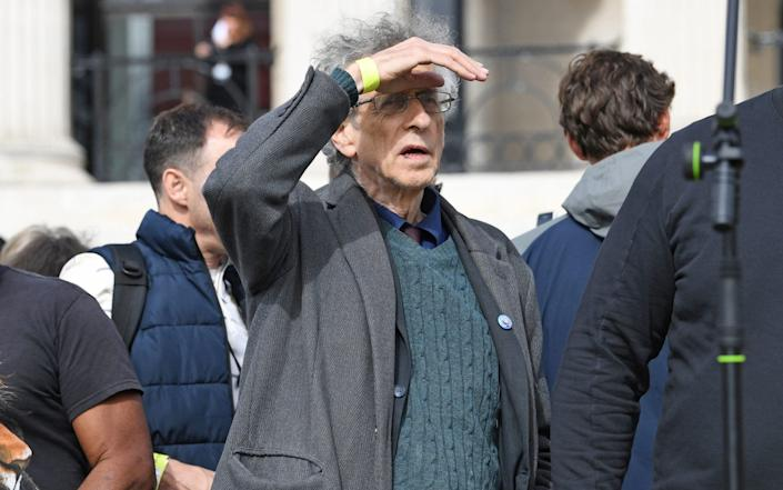 Piers Corbyn, the brother of former Labour Party leader Jeremy Corbyn, at the 'We Do Not Consent' rally in Trafalgar Square - Stefan Rousseau/PA