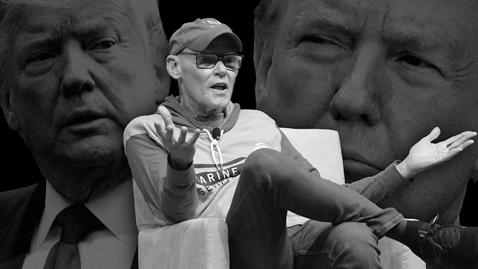 James Carville and President Trump. (Photo illustration: Yahoo News; photos: Jason Kempin/Getty Images, AP[2])