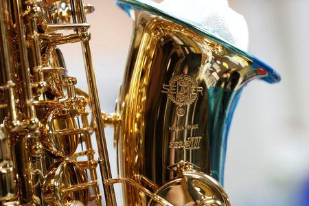A saxophone is pictured at the Henri Selmer wind instruments factory in Mantes-la-Ville near Paris
