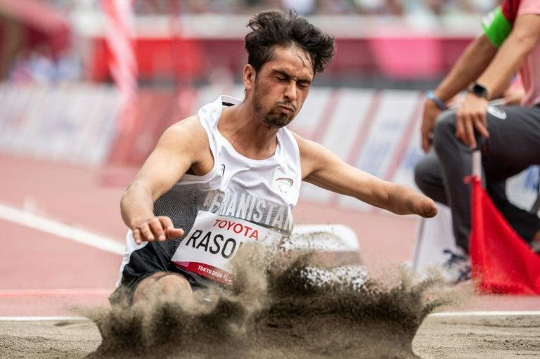 Afghanistan's Hossain Rasouli competed in the long jump at the Tokyo Paralympics after arriving too late to enter the 100m (AFP/Philip FONG)