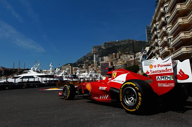 MONTE CARLO, MONACO - MAY 24: Fernando Alonso of Spain and Ferrari drives during practice for the Monaco Formula One Grand Prix at the Monte Carlo Circuit on May 24, 2012 in Monte Carlo, Monaco. (Photo by Paul Gilham/Getty Images)