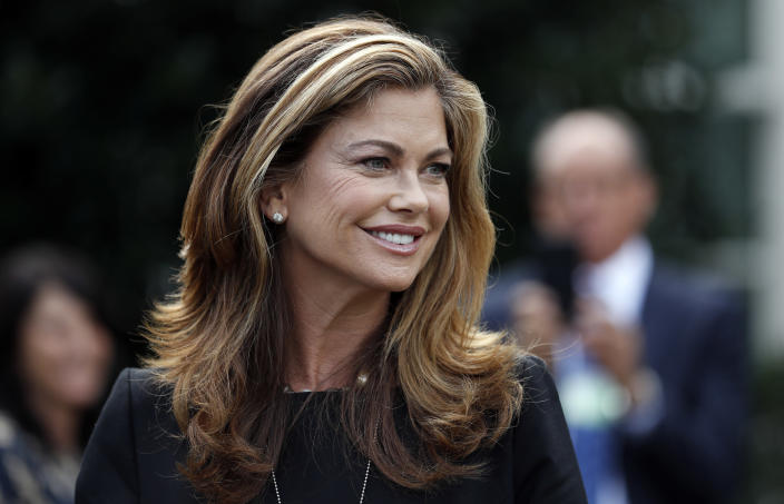Model Kathy Ireland, and other pro-life advocates, pauses after speaking with the media after a meeting with officials of the Trump administration at the White House, Thursday, Sept. 14, 2017, in Washington. (AP Photo/Alex Brandon)