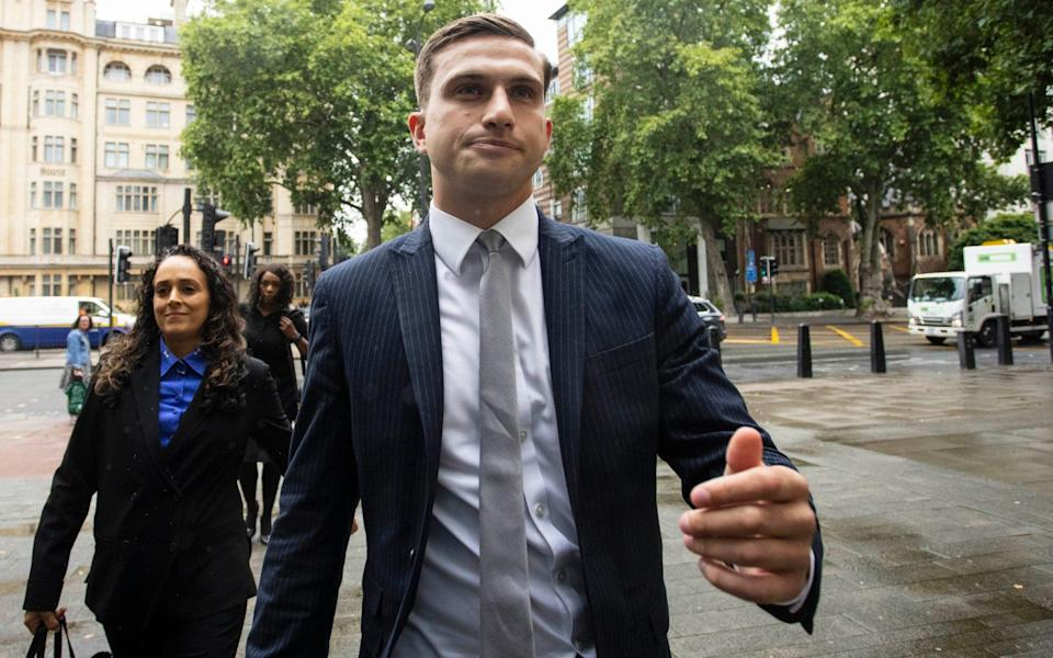 Lewis Hughes arrives at Westminster Magistrates' Court - Jamie Lorriman for The Telegraph