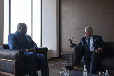 FII Institute CEO Richard Attias (right) speaks with Democratic Republic of the Congo President Félix-Antoine Tshisekedi Tshilombo about global collaboration on vaccine development at the FII Institute Health is Wealth roundtable in New York today, September 21. (PRNewsfoto/FII Institute)