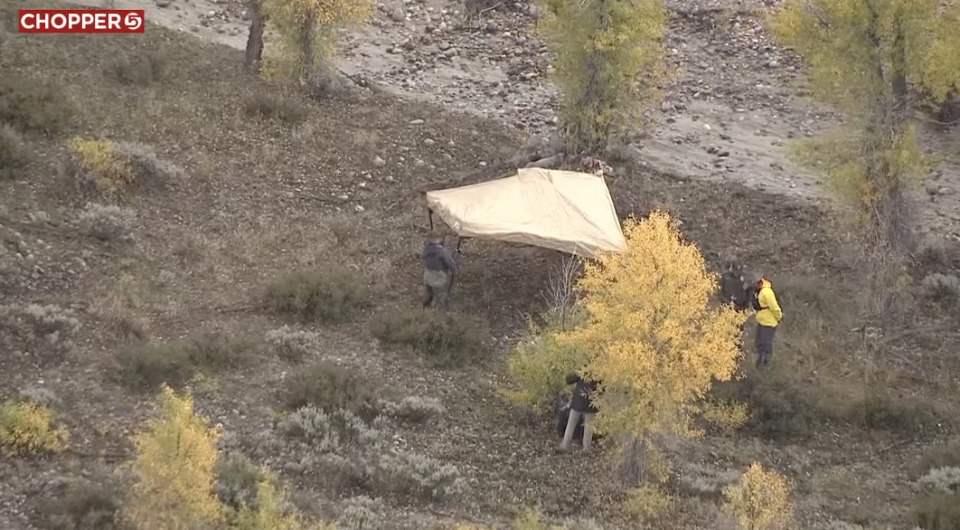 Police seen on the scene at Grand Teton National Park in remote northern Wyoming.