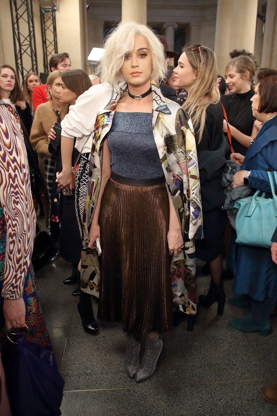 <p>Katy Perry attends the Christopher Kane show during the London Fashion Week February 2017 collections on February 20, 2017 in London, England.</p>