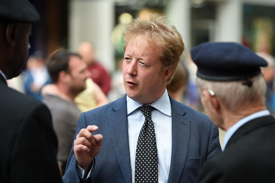 Conservative party candidate Paul Bristow talks to veterans during a D-Day 75th anniversary event in Peterborough as voting gets under way in the Peterborough by-election. (Photo by Joe Giddens/PA Images via Getty Images)