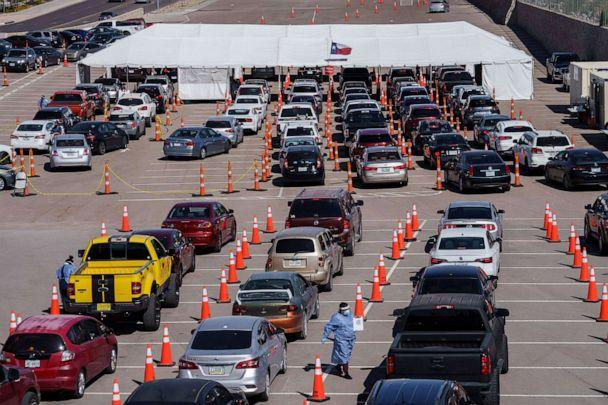 PHOTO: Cars line up for Covid-19 tests at the University of Texas El Paso on Oct. 23, 2020 in El Paso, Texas. The city has seen a surge in cases, reporting over 1,150 new cases on Oct. 22. (Paul Ratje/AFP via Getty Images)