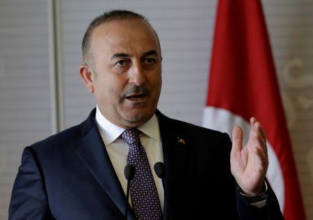 FILE PHOTO - Turkish Foreign Minister Mevlut Cavusoglu gives a speech to the media at the foreign ministry building (SRE) in Mexico City
