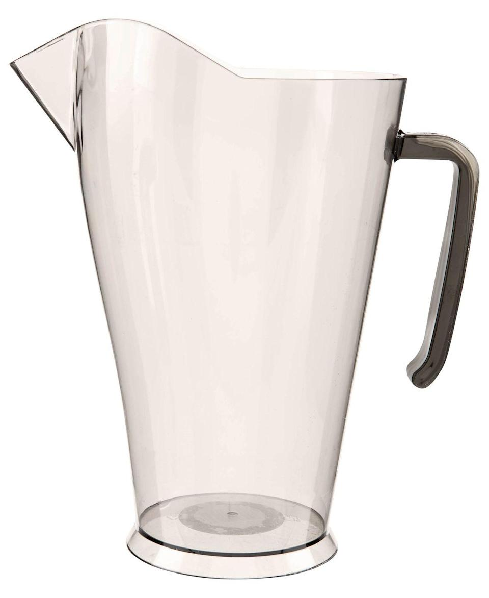 """<p>Serve up a summer tipple with this purse-friendly pouring jug. Part of Poundland's dining range, it's perfect for entertaining when the weather warms up. </p><p><a class=""""link rapid-noclick-resp"""" href=""""https://www.poundland.co.uk/store-finder/"""" rel=""""nofollow noopener"""" target=""""_blank"""" data-ylk=""""slk:FIND NEAREST STORE"""">FIND NEAREST STORE</a></p>"""