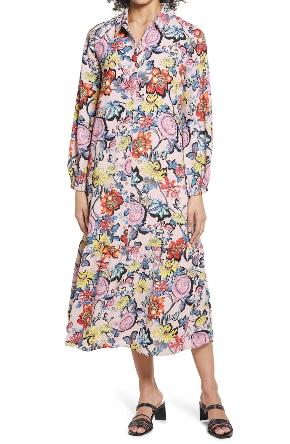 <p>This <span>Halogen Floral Long Sleeve Popover Shirtdress</span> ($99) will look great with slide sandals for a chic brunch, or with sneakers for an elevated morning walk. </p>
