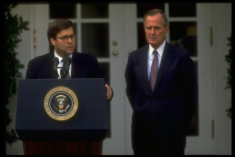 Barr joins President George H.W. Bush for the announcement of his nomination as AG in 1991 | Dirck Halstead—TIME-LIFE Images Collection/Getty Images