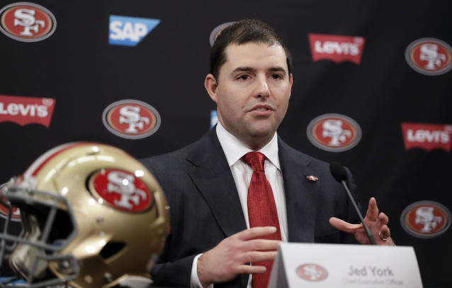 """49ers owner Jed York, whose par announced that the organization is donating $1 million to both """"local and national organizations who are creating change."""" (AP/Marcio Jose Sanchez)"""